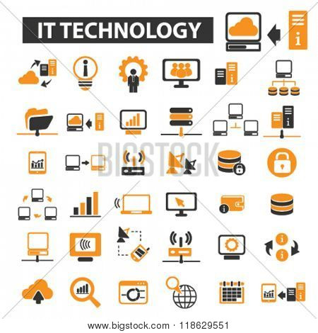 it technology icons, it technology logo, internet icons vector, internet flat illustration concept, internet infographics elements isolated on white background, internet logo, internet symbols set