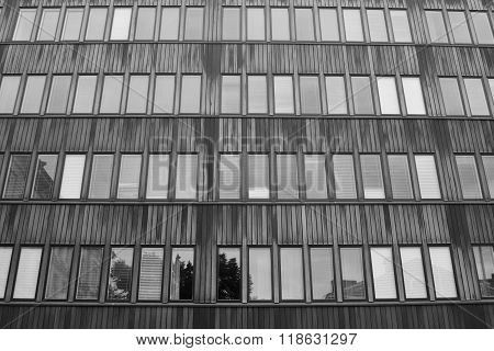 Modern building in central part of Helsinki Finland. Black and white. poster