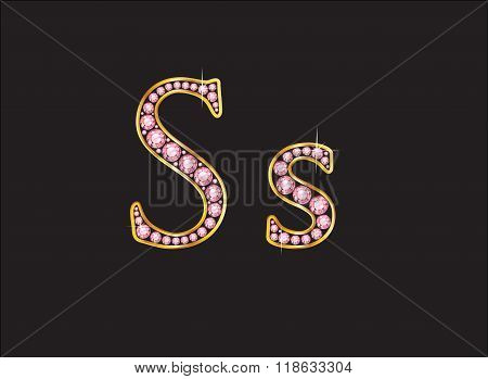Ss Rose Quartz Jeweled Font With Gold Channels