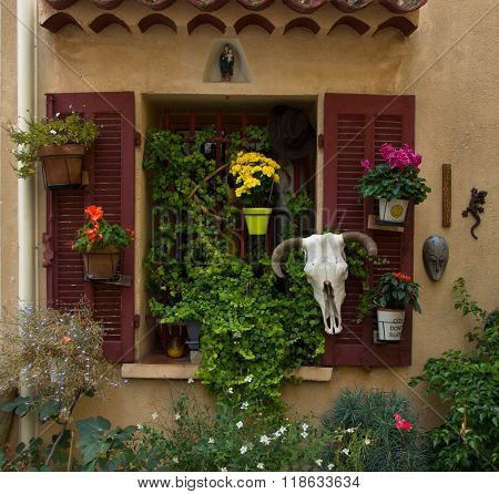 window with flowers, Europe ,France
