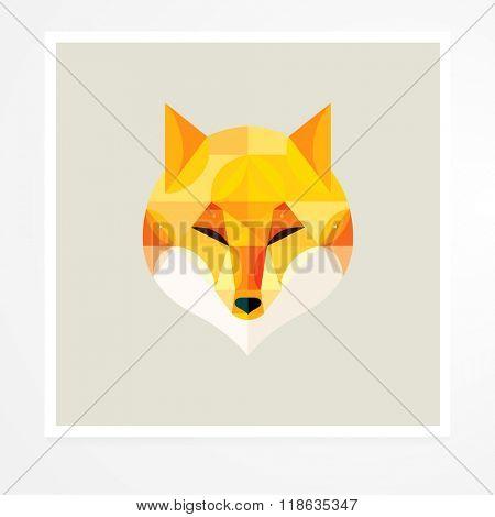 Fox. Vector geometric animals. Geometric fox poster