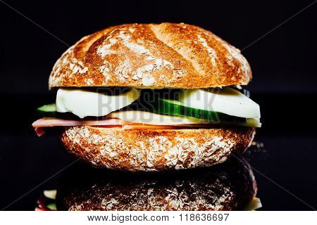 Breakfast Sandwich On Reflection Background