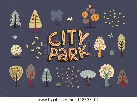 The vector illustration of flat city park elements - various trees, seeds and hand-drawn lettering on the dark background.