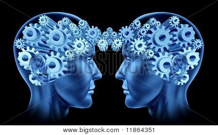 communications networking brain lobes team work together synergy blue gears cogs in motion poster