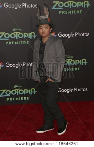 LOS ANGELES - FEB 17:  Hudson Yang at the Zootopia Premiere at the El Capitan Theater on February 17, 2016 in Los Angeles, CA