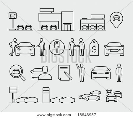 Car dealership vector icons