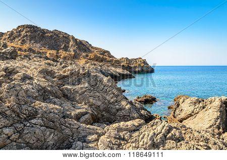 Rocky coastline of Crete island near Chora Sfakion town