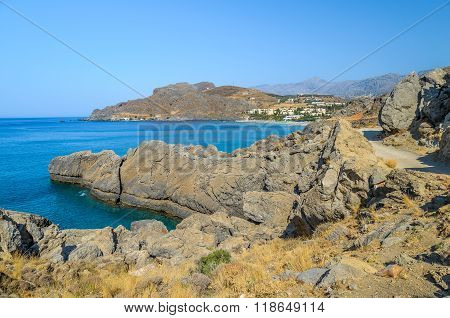 Rocky coastline of Crete island near Chora Sfakion town, located in southern part of island