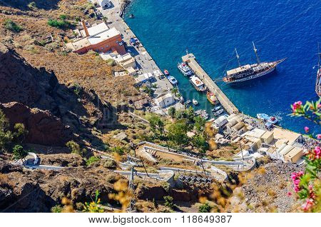 View on old port, donkey road and cableway in Thira town on Santorini island