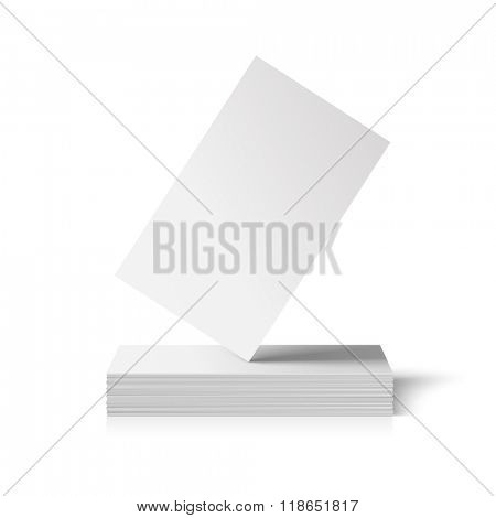Vector business card mockup. One card standing on top of a pile. Realistic illustration.