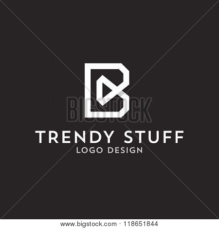 Vector logo design, flat letter B in line-art style. Logotype template.