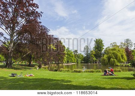 Parc De L'orangerie In The Center Of Strasbourg City, France. Popular Place To Relax