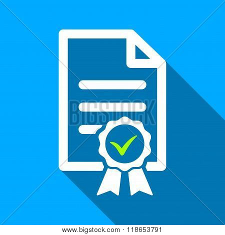 Certified Page Flat Long Shadow Square Icon