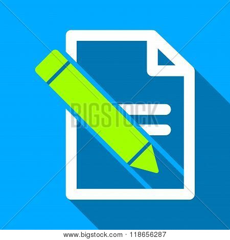 Edit Records Flat Long Shadow Square Icon