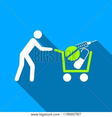 Medical Shopping Cart Flat Long Shadow Square Icon