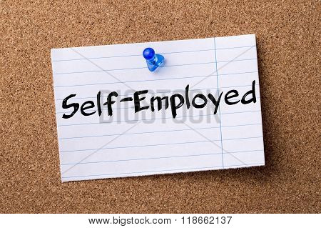 Self-employed - Teared Note Paper Pinned On Bulletin Board