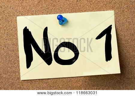 No1 - Adhesive Label Pinned On Bulletin Board