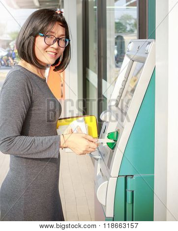 Asian Woman Smiling Face Happiness Emotion Standing In Front Of Automatic Teller Machine Withdraw Ca