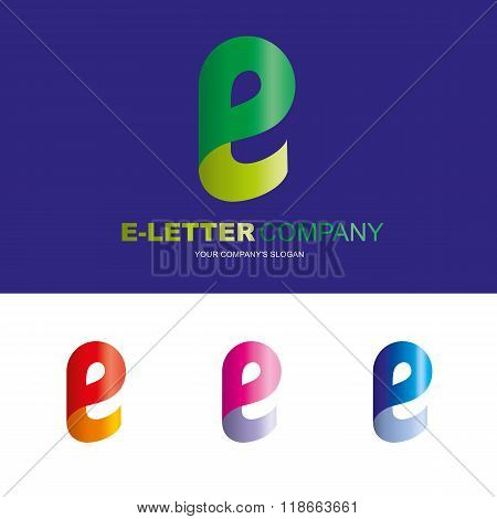 Е letter - vector logo design concept illustration. E abstract letter sign for business company. E letter logo corporate identity - visit card, poster, folder, brochure cover.