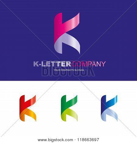 K letter - vector logo design concept illustration. Abstract K letter logo sign for business company. V letter logo corporate identity - visit card, poster, folder, brochure cover. Mosaic decorative style.