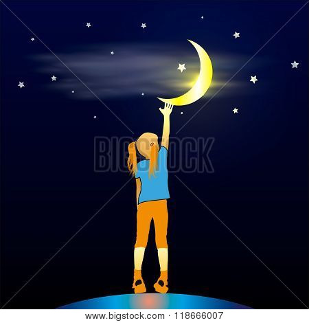 Girl Looking Up At The Moon
