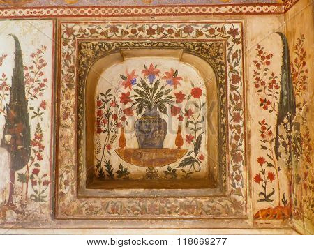 Agra, India - November 6: Detail Of Wall Painting In Itimad-ud-daulah Mausoleum On November 6, 2014