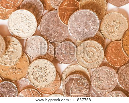 Pounds and pence - currency of the United Kingdom vintage poster
