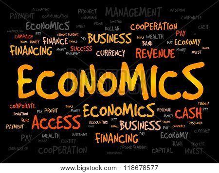 ECONOMICS word cloud business concept, presentation background