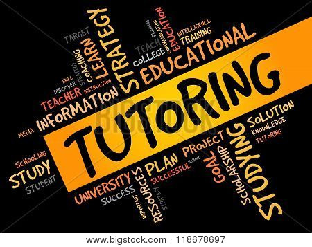 TUTORING word cloud education concept, presentation background