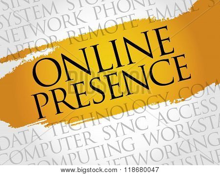 Online Presence word cloud concept, presentation background