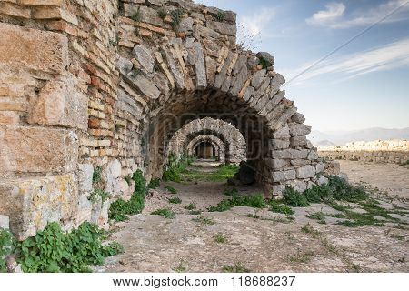 Arched doorways at Palamidi castle in Nafplion Greece.