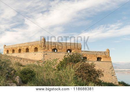 Beautiful landscape of Palamidi fort in Nafplio Greece.