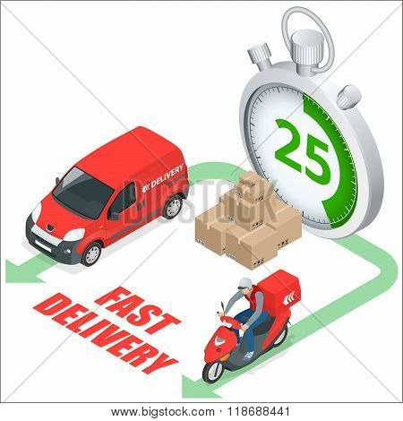 Isomertic Delivery service concept. Fast delivery truck, fast delivery motobike, stopwatch. Vector 3