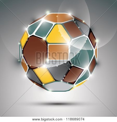 Dimensional Sparkling Spherical Object. Vector Abstract Gala Illustration - Eps10 Fractal Treasure.