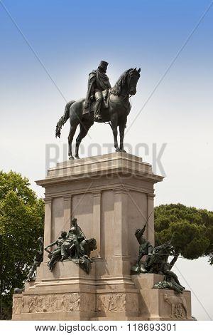 Faro de Gianicolo- Giuseppe Garibaldi's horse monument in Rome Italy.
