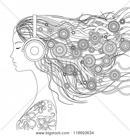 Black and white linear picture. Girl half-face with loose hair and abstract elements listen to music with head-phones. Illustration for coloring book poster
