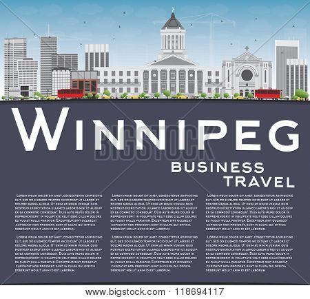 Winnipeg Skyline with Gray Buildings and Copy Space. Business Travel and Tourism Concept with Modern Buildings. Image for Presentation Banner Placard and Web Site.