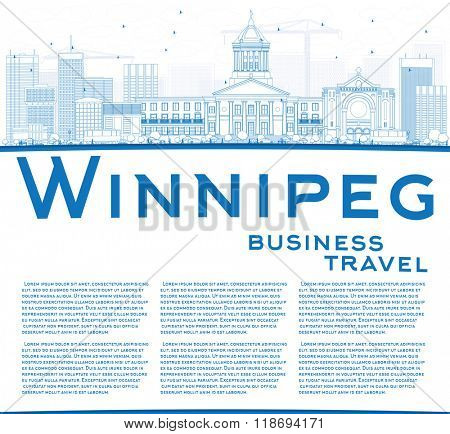 Outline Winnipeg Skyline with Blue Buildings and Copy Space. Business Travel and Tourism Concept with Modern Buildings. Image for Presentation Banner Placard and Web Site.