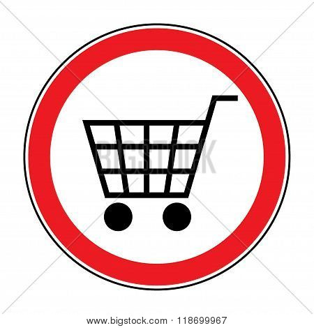 No Shopping Cart Sign. Red round No Shopping Cart icon. No trolley allowed symbol. Prohibited symbol isolated on white background. Flat design. Stock Vector