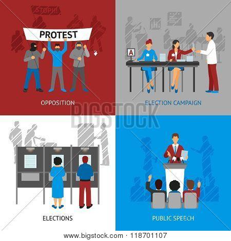 Politics Concept Icons Set