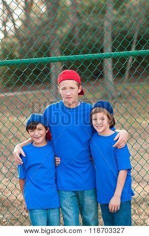 Portrait Of Three Baseball Boys