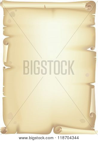 Old scroll manuscript, isolated over white background poster