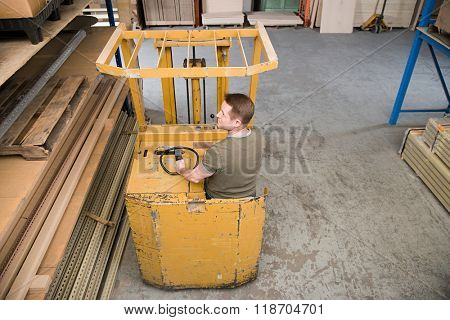 Man in forklift truck