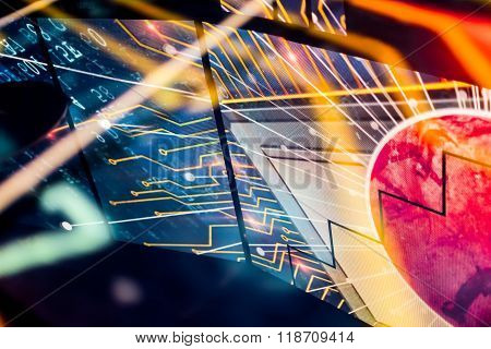 Starburst Space Electronic Reflection With Red Planet