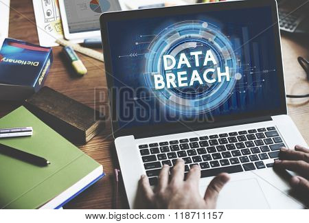 Data Breach Hacker Information Incursion Concept poster