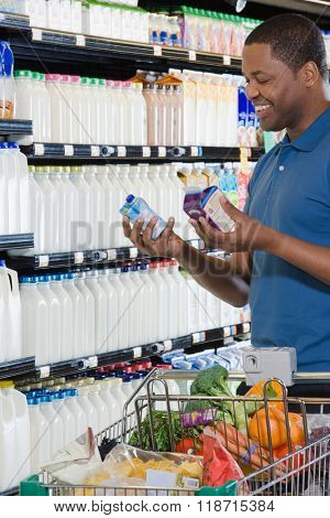 man choosing cartons