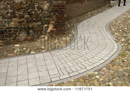 Modern Pathway In Ancient Surroundings