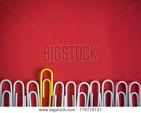 Paper Clips Arrange To Symbolize To Be Different Or  Leadership Like Boss