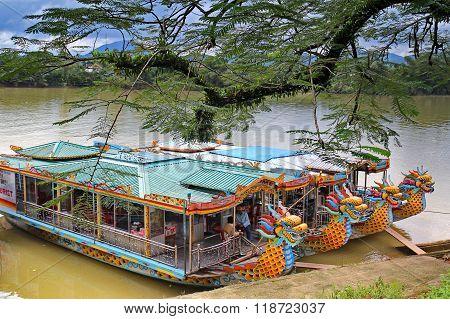 HUE, VIETNAM - NOVEMBER 27, 2011: A boat station at Perfume River (Song Huong) near Thien Mu pagoda
