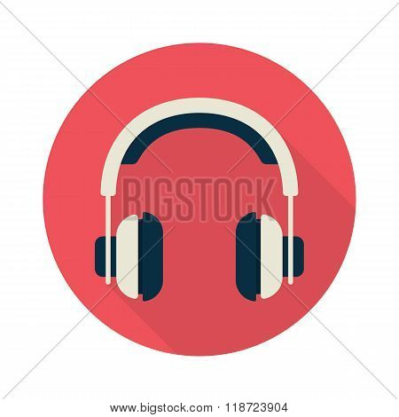 Headphones icon with long shadow
